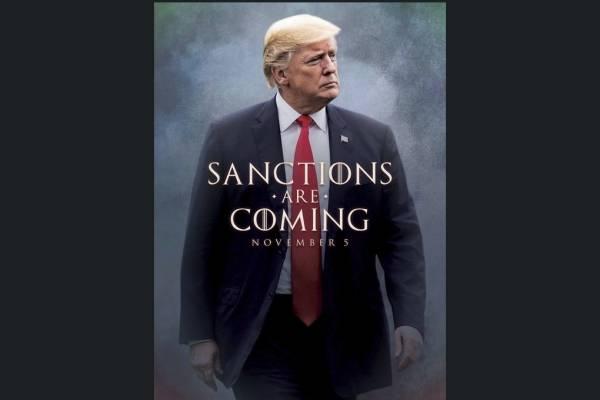 """La Casa Blanca usó la popular serie """"Juego de tronos"""" el viernes para promocionar sus nuevas sanciones contra Irán, con el presidente Donald Trump como estrella y Twitter como medio, por supuesto."""
