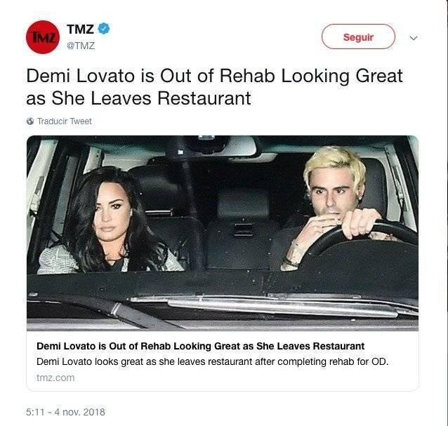 La foto de Demi Lovato tras pasar tres meses en rehabilitación / TWITTER TMZ