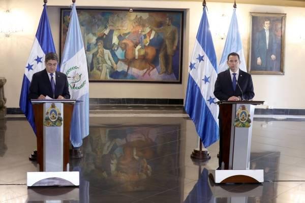 presidentes de Guatemala, Jimmy Morales, y de Honduras, Juan Orlando Hernández, se reúnen por tema migratorio