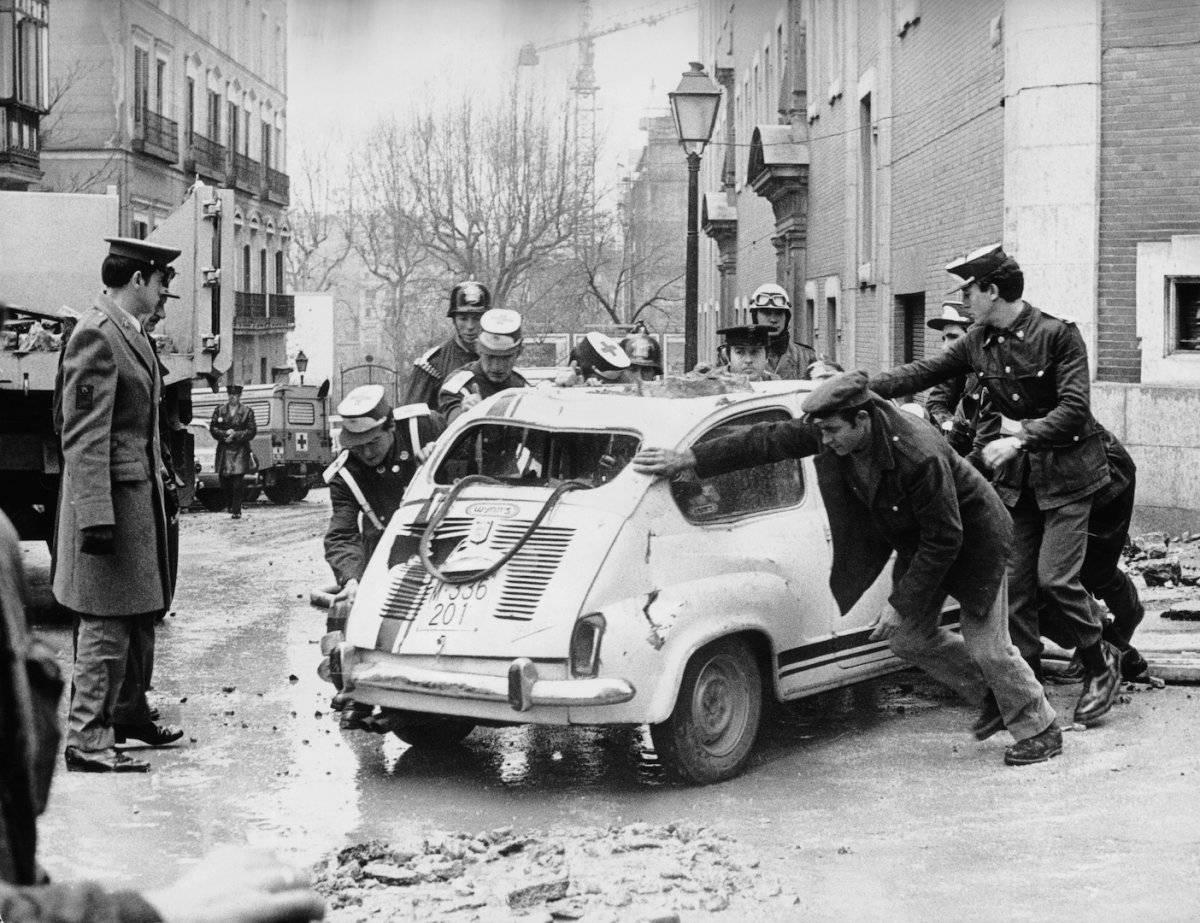 Escena del asesinato de Luis Carrero Blanco, presidente del Gobierno, cuando bombardearon su automóvil el 20 de diciembre de 1973