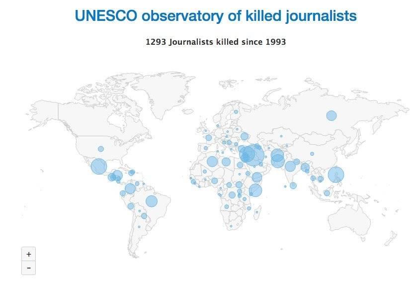 Mapa de asesinatos Foto: Unesco