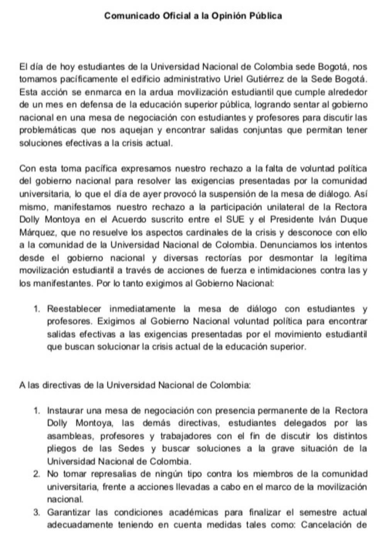 Comunicado estudiantes de la Universidad Nacional Cortesía