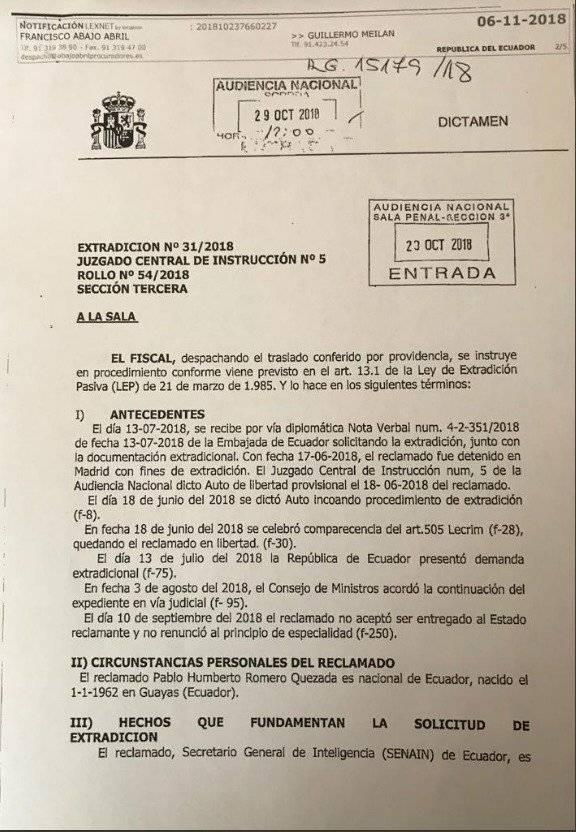 España da luz verde para la extradición de exsecretario de la Senain Tomado de Twitter de Galo Javier Cevallos