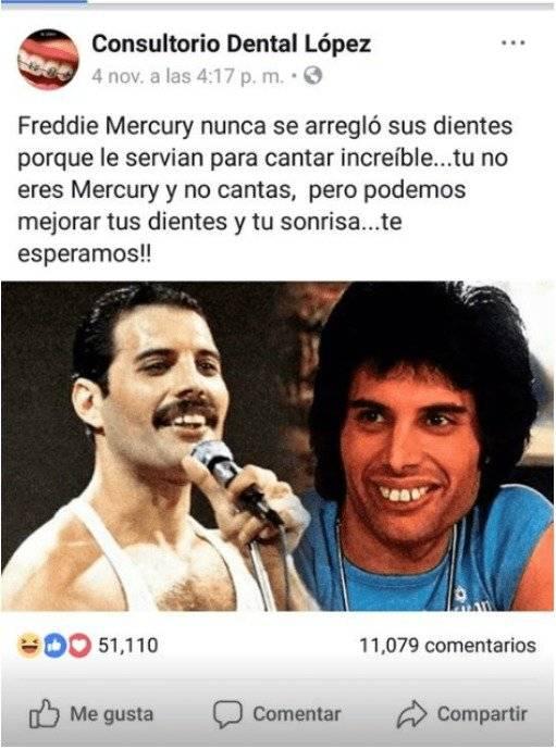 Clínica dental se burla de usuarios al recordar la sonrisa de Freddie Mercury