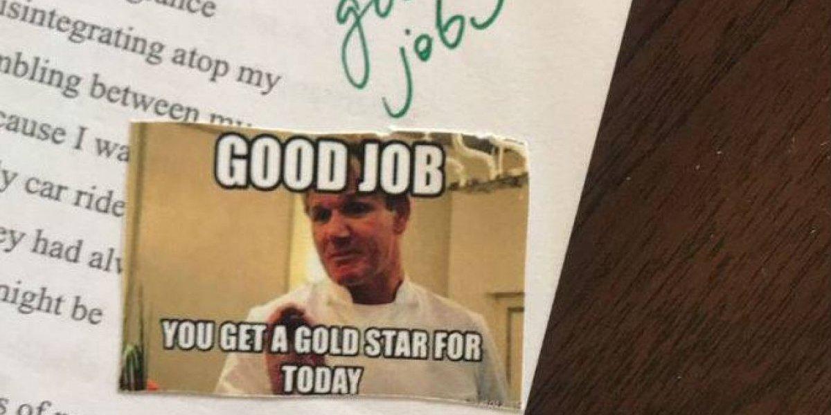 Maestra usa memes para calificar tareas de sus alumnos