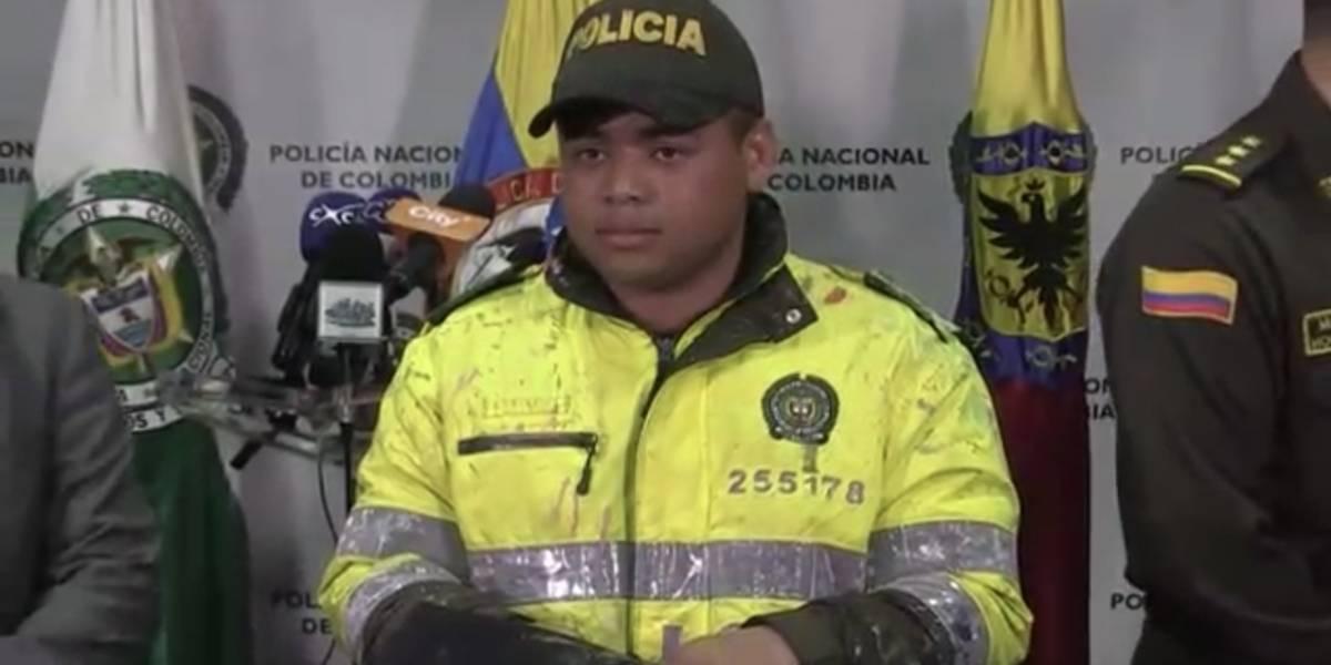 Habló el policía que intentaron quemar durante las protestas estudiantiles en Bogotá