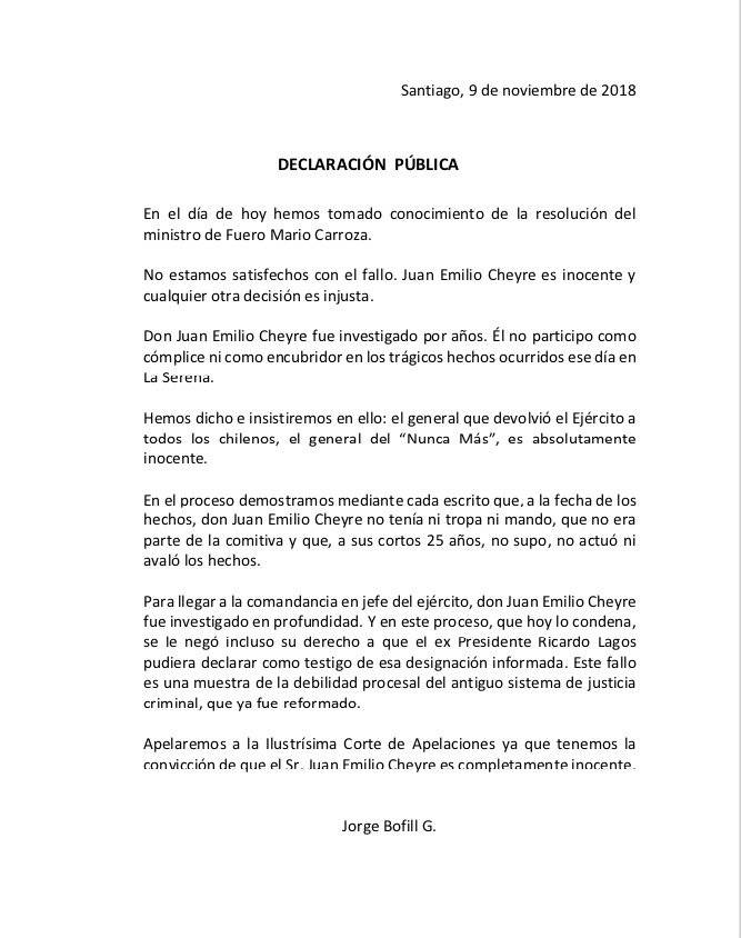 Comunicado del abogado de Juan Emilio Cheyre, Jorge Bofill