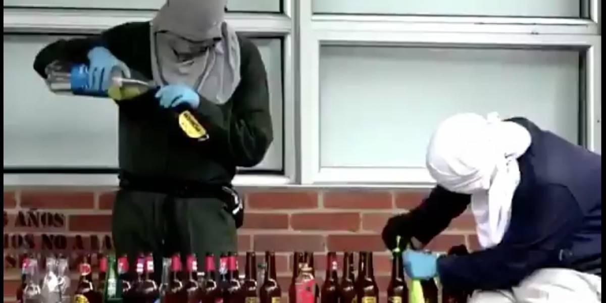 Divulgan video de encapuchados haciendo bombas molotov en Bogotá