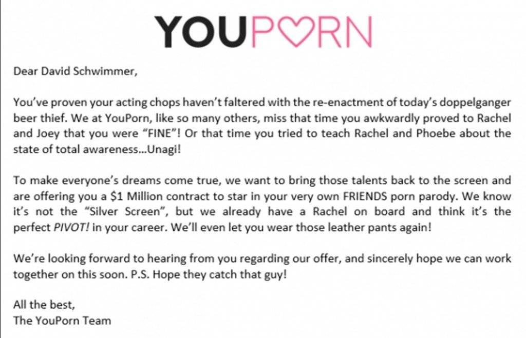 Carta a David Schwimmer