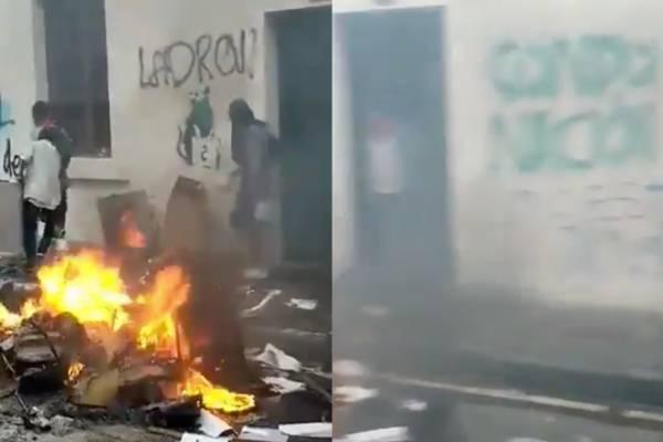 Video de los daños causados en el Icetex de Popayán