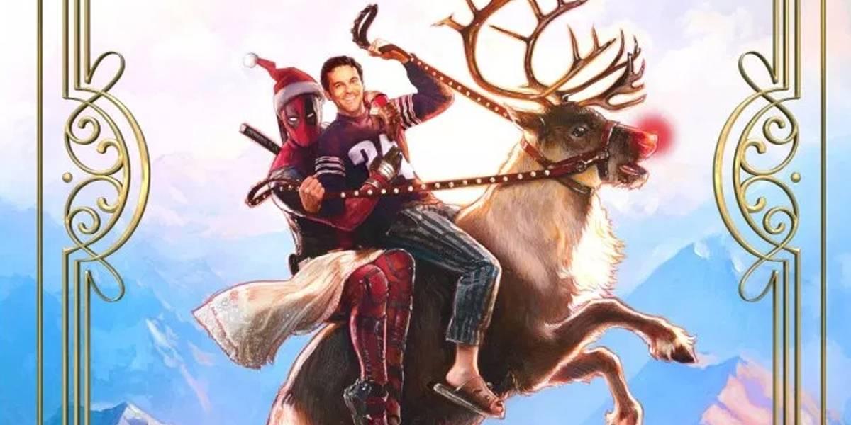 Este es el póster de la película navideña de Deadpool