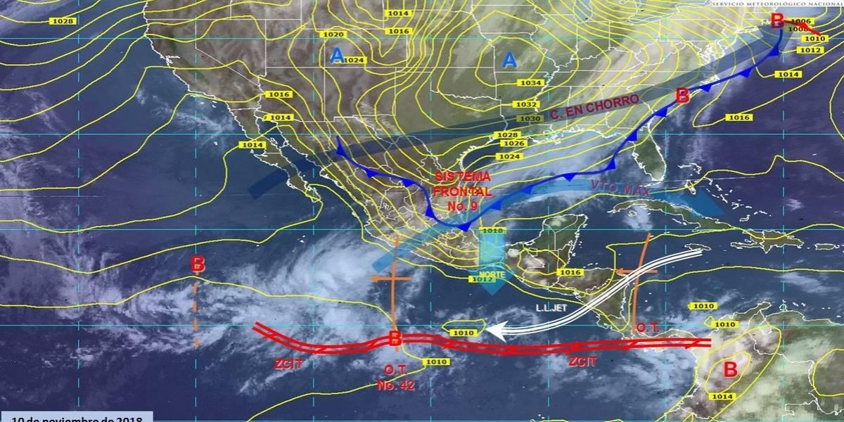 Se esperan fuertes lluvias en el oriente y sureste por Frente Frío 9