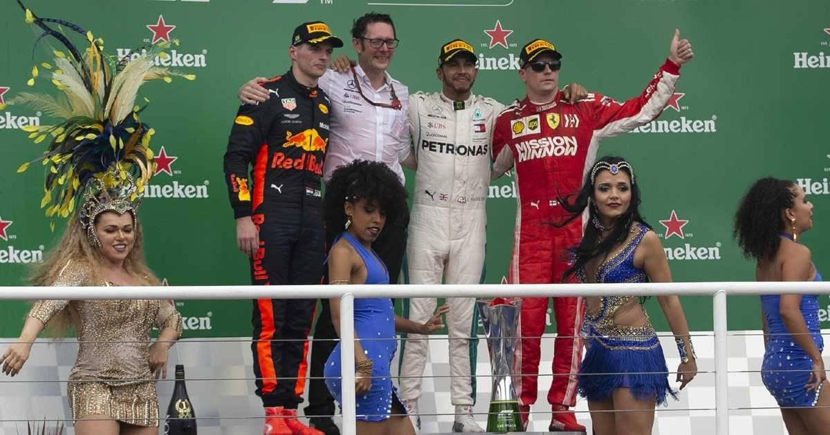 Pódio do GP do Brasil: Lewis Hamilton, Max Verstappen e Kimi Raikkonen Foto: André Porto / Metro Jornal
