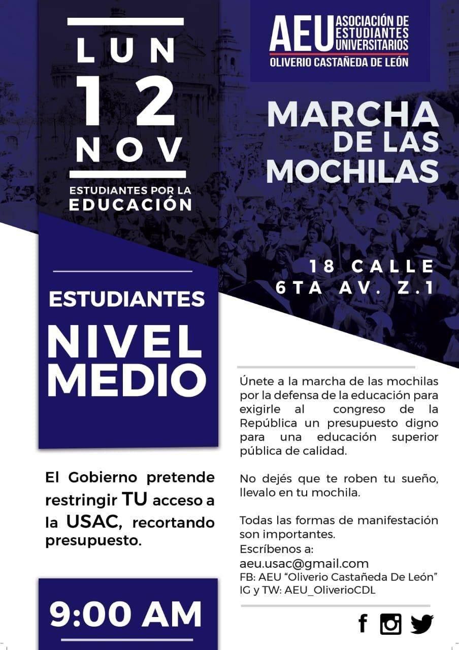 """""""Marcha de las Mochilas"""", Usac"""