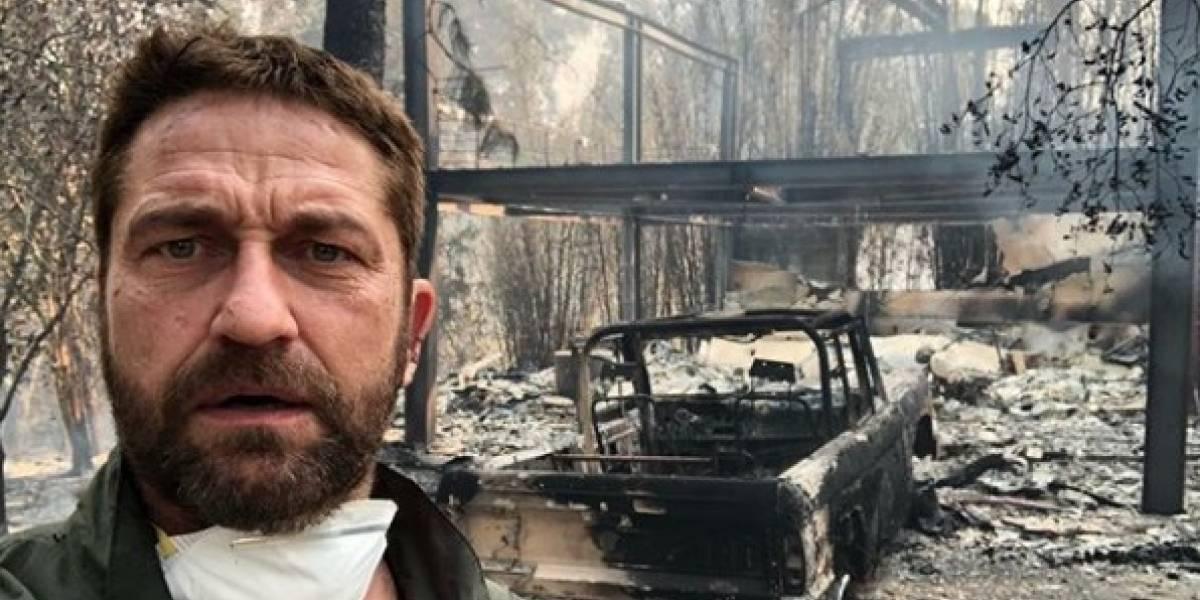 Gerard Butler mostra casa destruída por incêndio na Califórnia