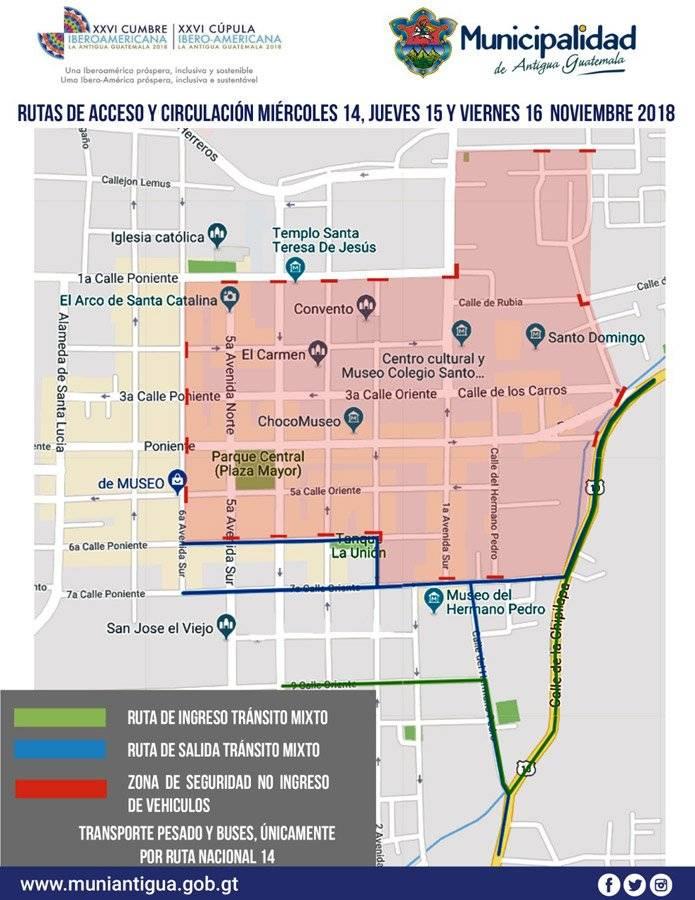 Mapa de acceso a La Antigua