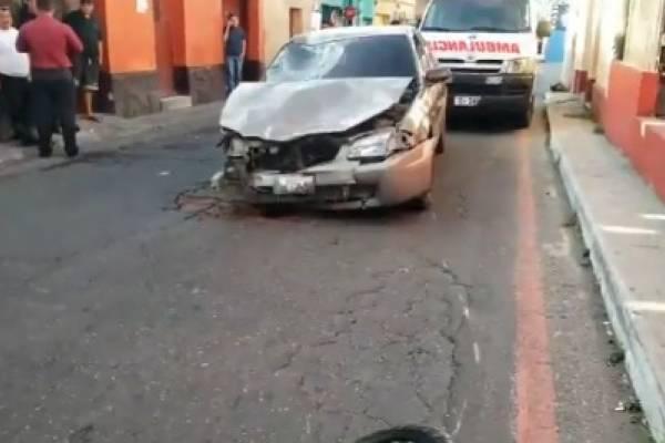 Accidente en el centro de Villa Nueva.