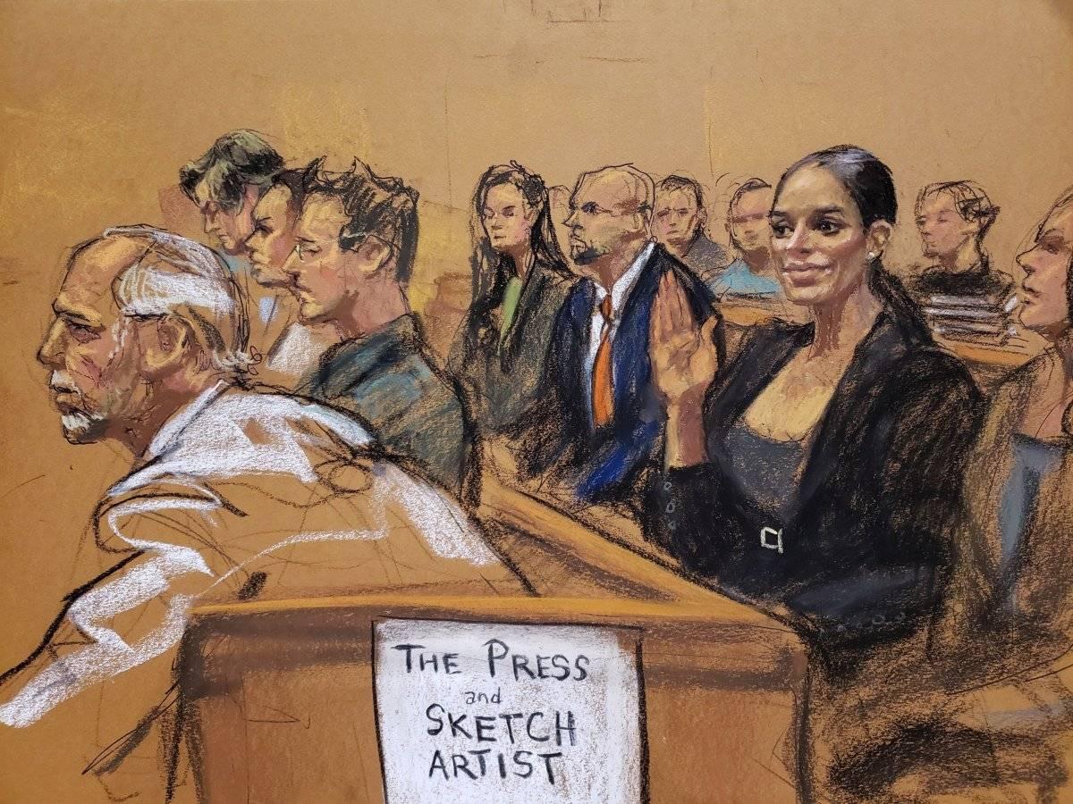 """Reproducción fotográfica de un dibujo realizado por la artista Jane Rosenberg donde aparece Emma Coronel mientras saluda a su esposo el narcotraficante mexicano Joaquín """"El Chapo"""" Guzmán antes del inicio del primer día de su juicio hoy, martes 13 de noviembre de 2018, en el tribunal del Distrito Sur en Brooklyn, Nueva York (EE.UU.). El mexicano Joaquín """"el Chapo"""" Guzmán afronta las acusaciones por narcotráfico, que le pueden costar la cadena perpetua, después de que el tribunal de Nueva York haya escogido a los 12 miembros del jurado que dirimirá su culpabilidad. EFE/Jane Rosenberg"""