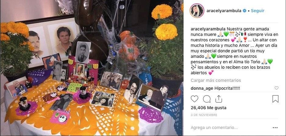 El reclamo de Luis Miguel a Aracely Arámbula por publicación de una foto en el Día de los Muertos Instagram