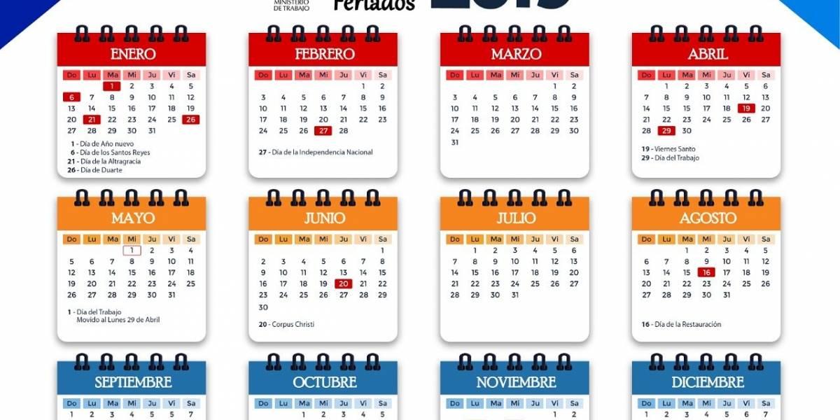 Ministerio de Trabajo informa feriados 2019
