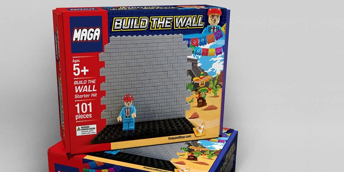 Esta imitación de LEGO construye un muro contra los migrantes