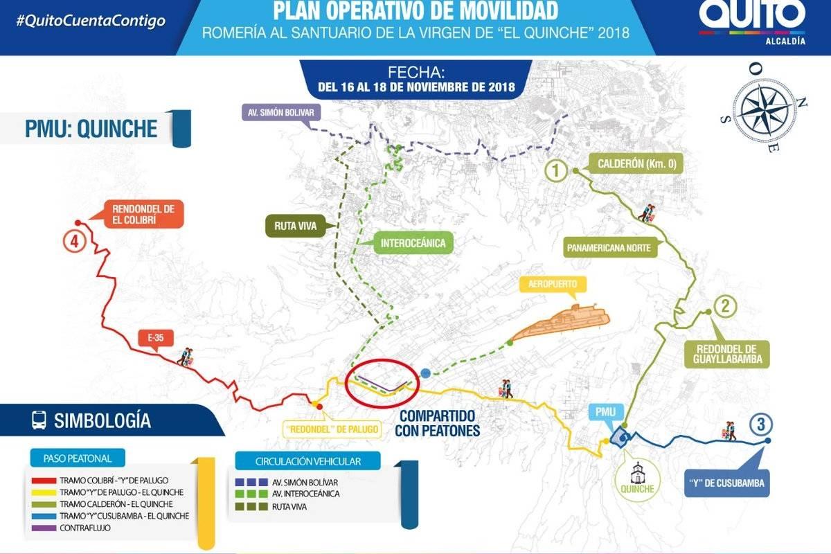 """El Plan operativo de movilidad que se ejecutará este viernes 16, sábado 17 y domingo 18 de noviembre a partir de las 16h00 por """"Romería al Santuario de la Virgen del Quinche"""" Twitter"""