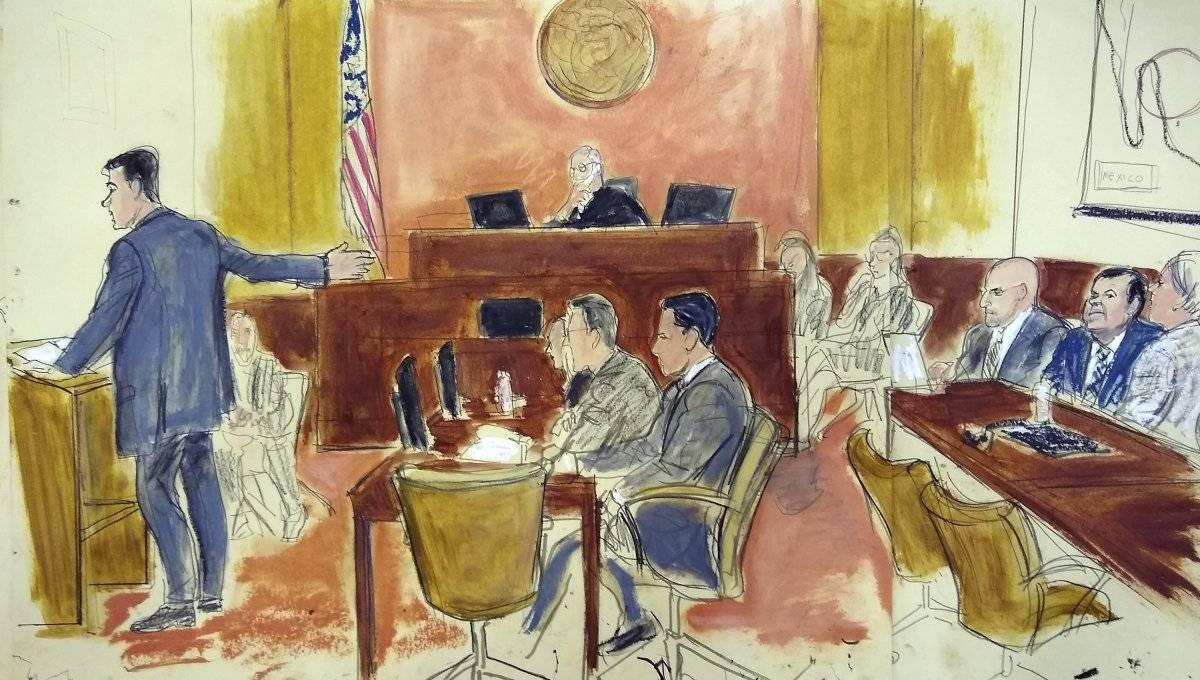 Dibujo de la corte del juicio Foto: AP