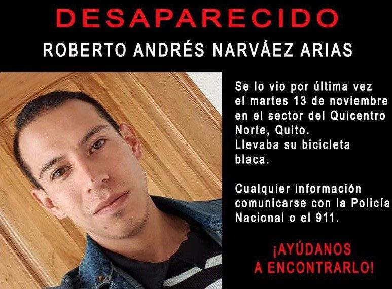 Roberto Andrés Narváez fue reportado como desaparecido en Quito