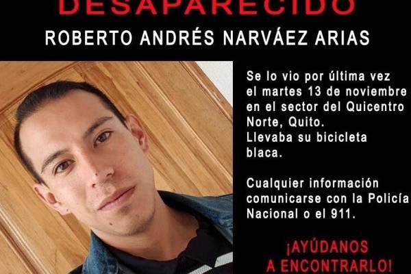 Encontraron con vida a Roberto Andrés Narváez