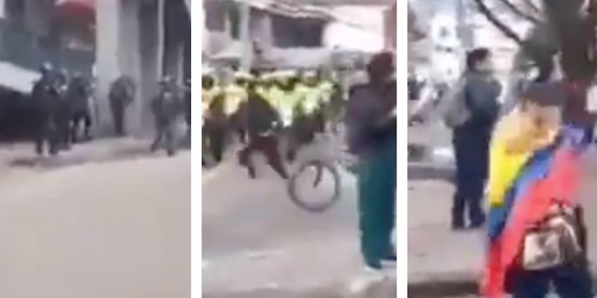 VIDEO: fuertes disturbios entre manifestantes y Policía en el norte de Bogotá