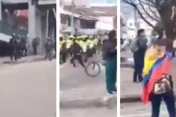 fuertes disturbios entre manifestantes y Policía en el norte de Bogotá