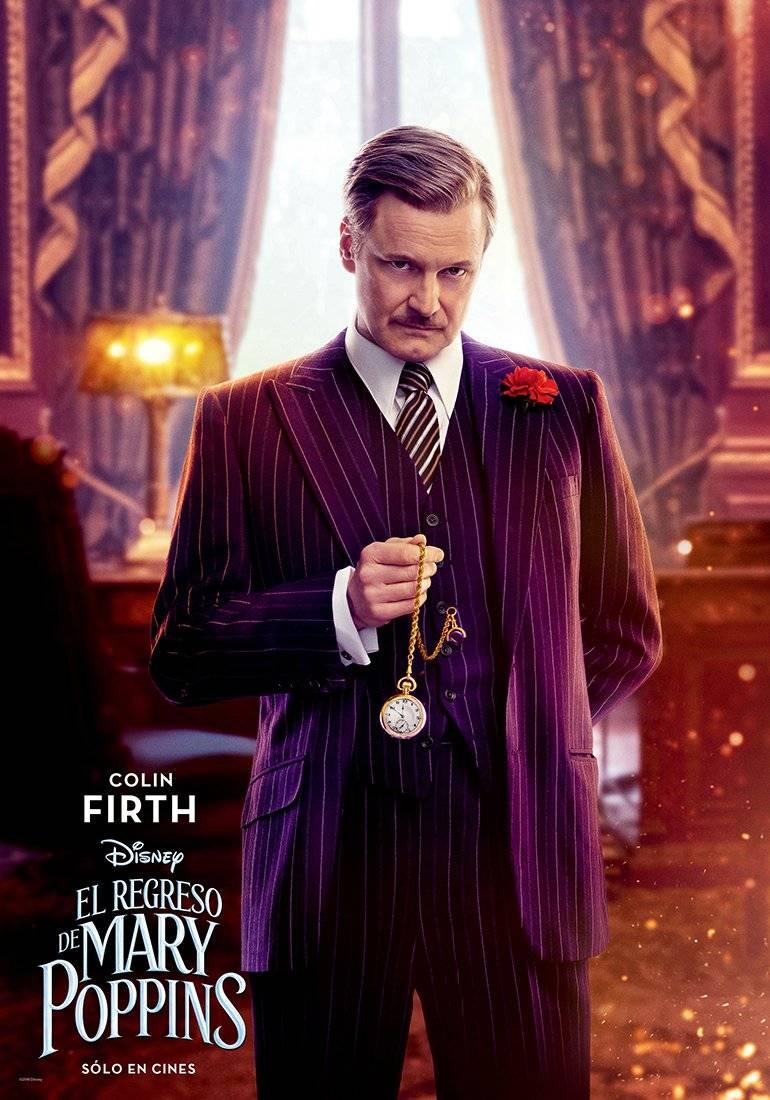 WILLIAM WEATHERALL WILKINS (Colin Firth) Si bien parece un simpático y altruista mentor para Banks, en realidad es calculador y engañoso. Disney