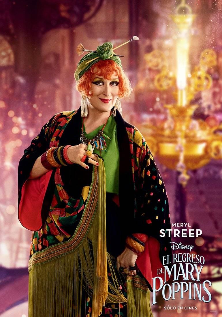 TOPSY (Meryl Streep) es la prima lejana de Mary Poppins y, aunque a veces están en desacuerdo, tienen una relación afectuosa. Disney