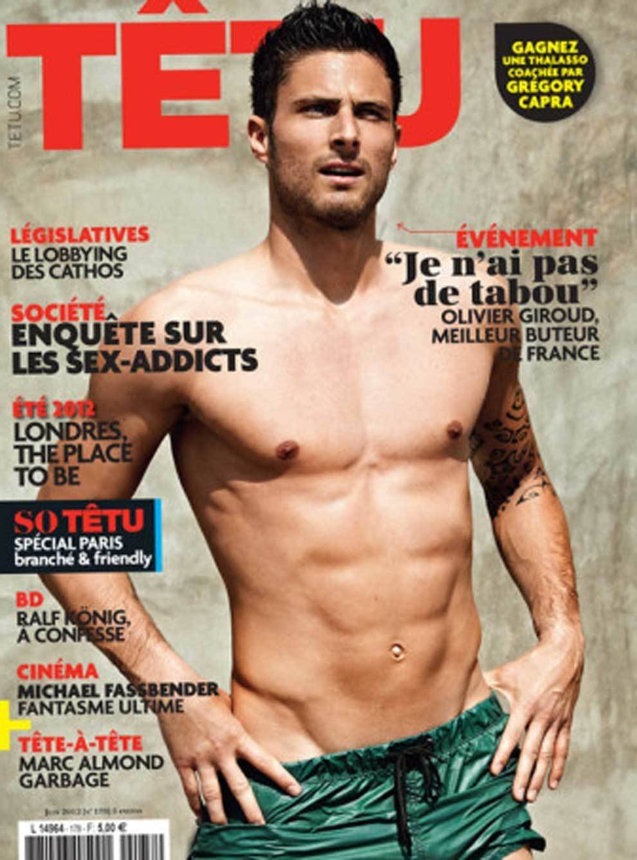 Olivier Giroud posando para la revista gay Têtu en 2012 / Foto: Captura