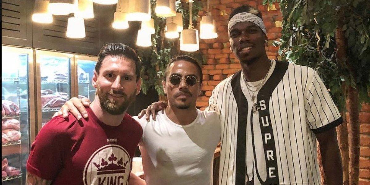 Messi visitó el exclusivo restaurante de Salt Bae y se encontró con Pogba