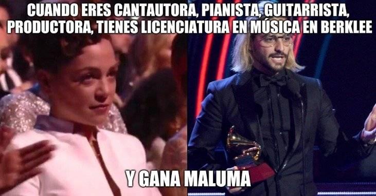 La reacción de Natalia Lafourcade cuando Maluma se llevó el Grammy Latino 2018