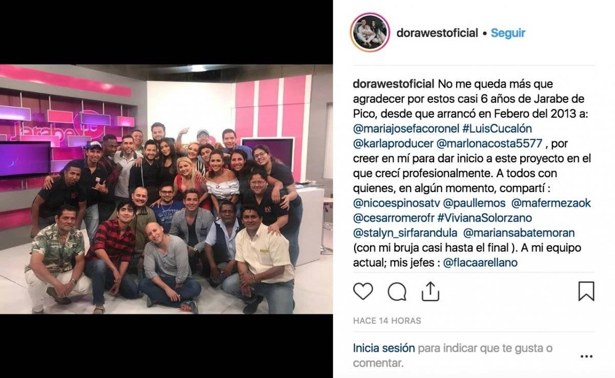 Dora West publica mensaje tras las salida del aire de Jarabe de Pico