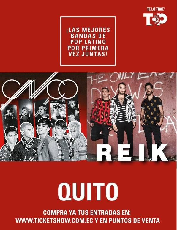 CNCO y Reik se presentaran en Quito y Guayaquil