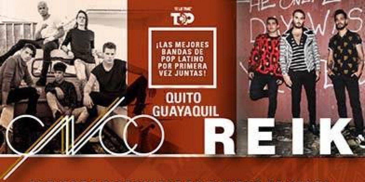 CNCO y Reik se presentarán en Quito y Guayaquil