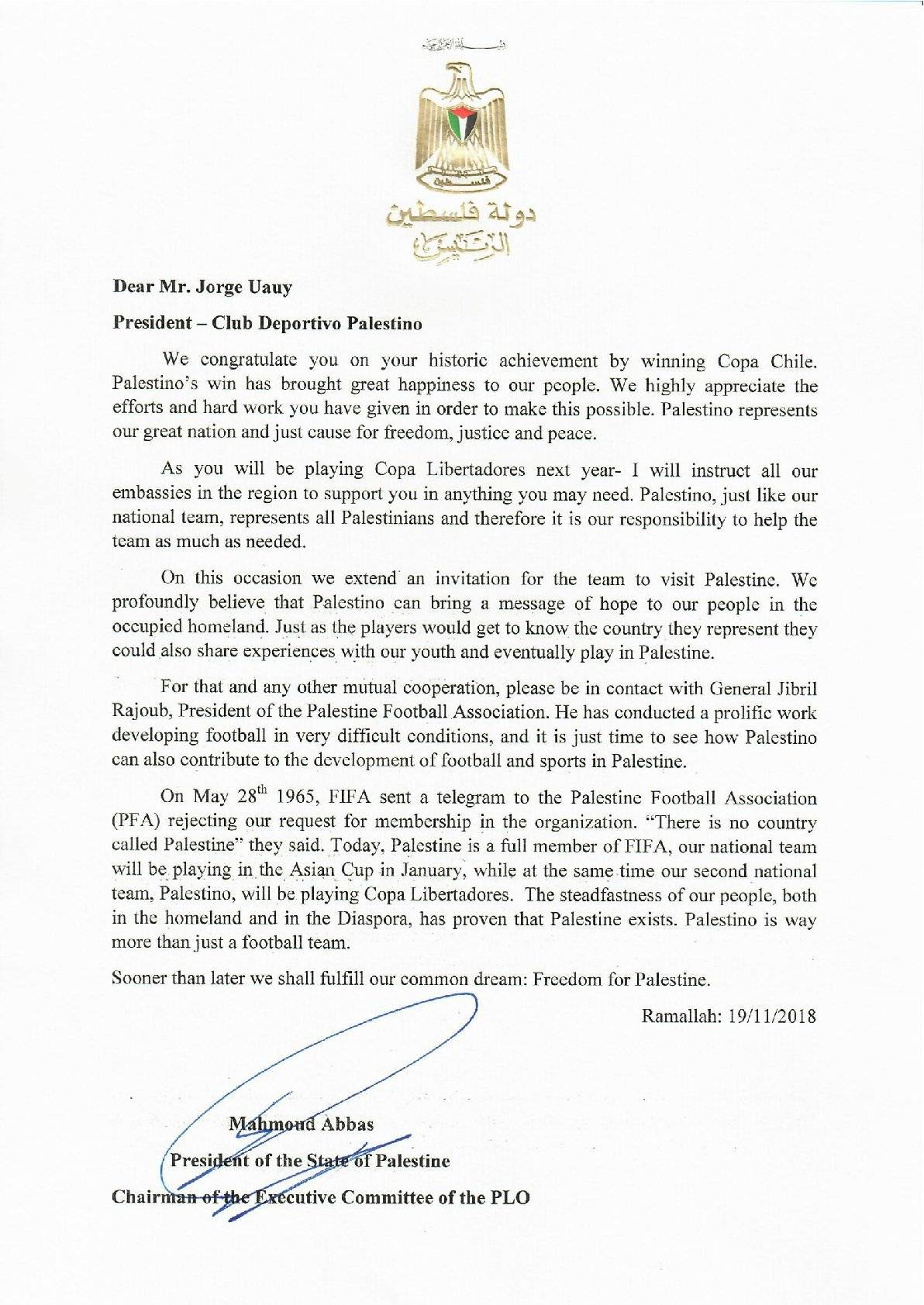 Carta a Palestino