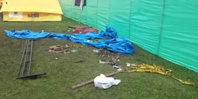 Así quedó el campamento para venezolanos en Bogotá luego de los disturbios