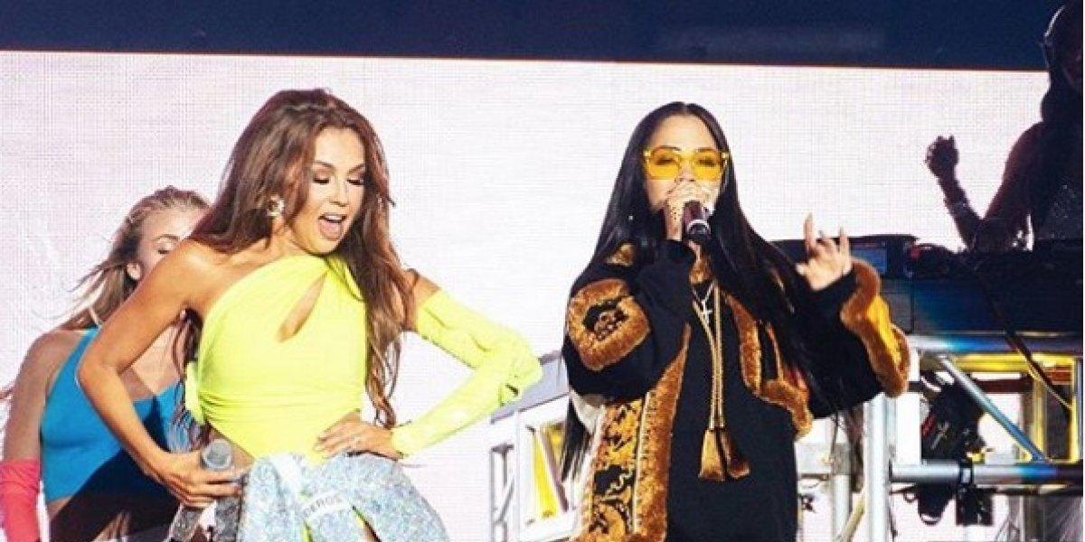 VIDEO: Fallas técnicas en show de Thalía y Natti Natasha