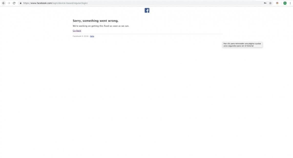 Facebook reporta una caída este 20 de noviembre
