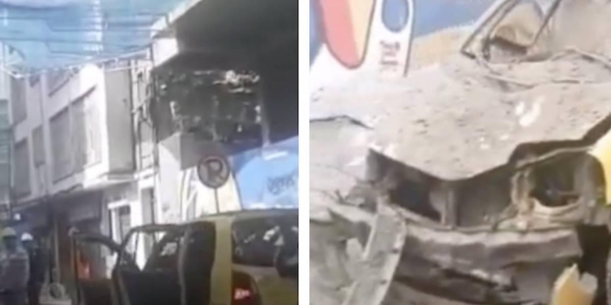 VIDEO: a este taxi le cayó material de construcción del edificio Bacatá en Bogotá