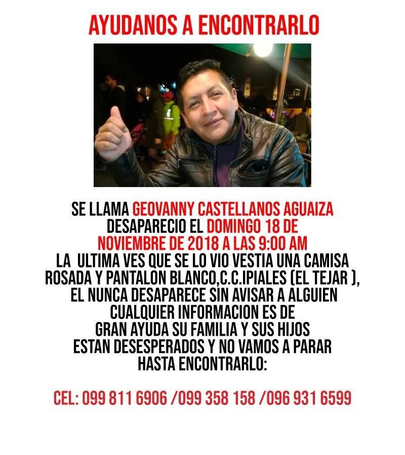 Familiares buscan a Geovanny Castellanos desparecido en Quito