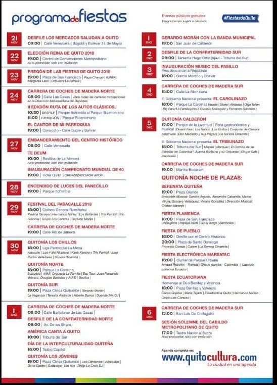 Habrá Poloniaso, El Carolinazo y Tribunazo por Fiestas de Quito 2018 Twitter