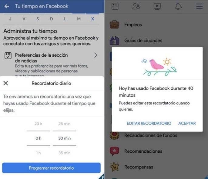 Facebook configurará una opción que medirá el tiempo que pasas en la app