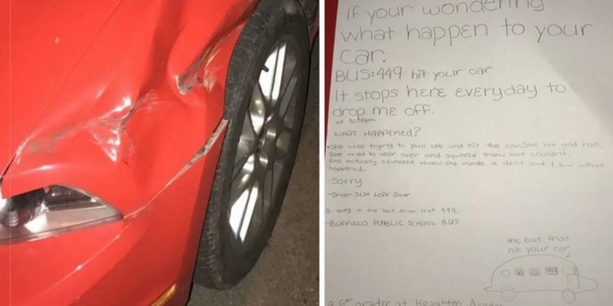 Ruta escolar chocó su auto y niña explicó lo sucedido con curiosa nota