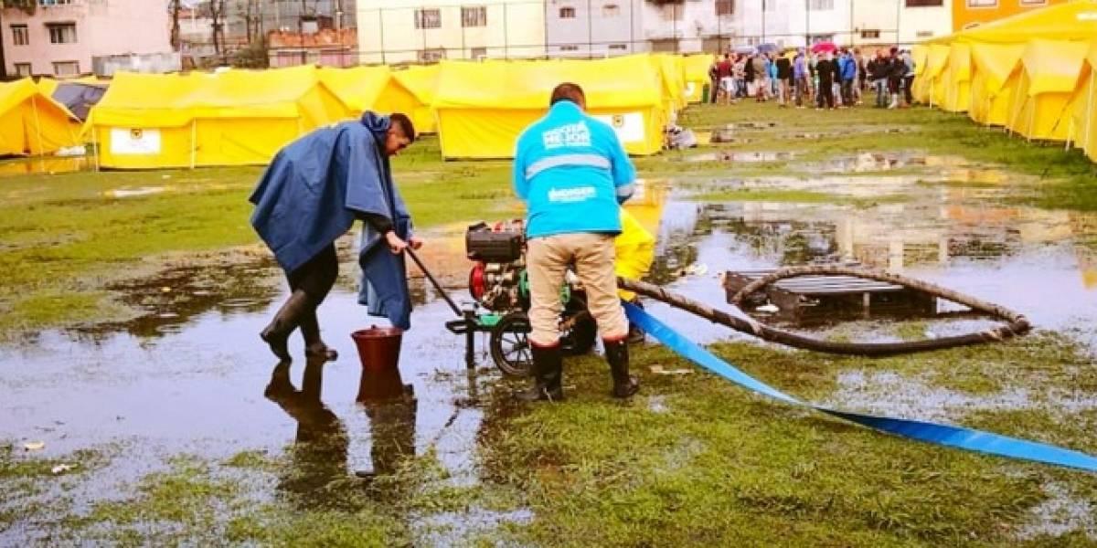 FOTOS: campamento de venezolanos en Bogotá se inundó tras torrencial aguacero
