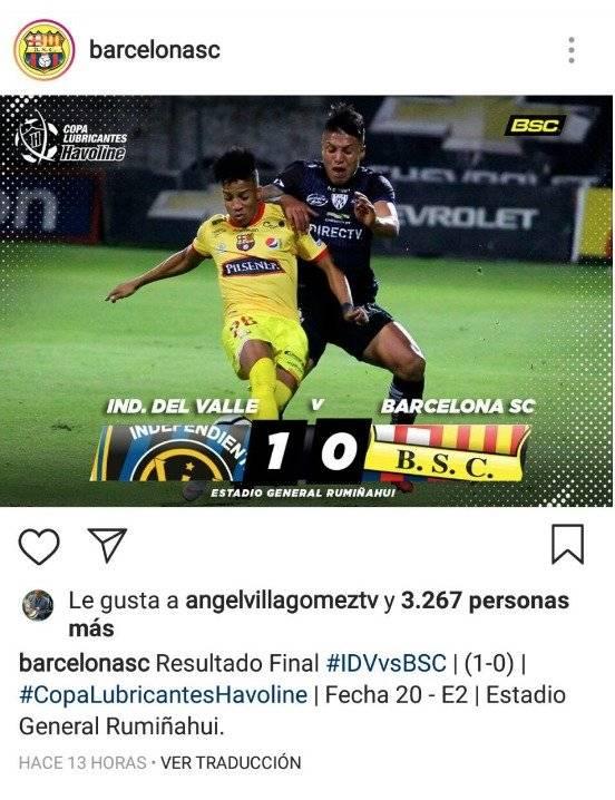 Barcelona SC tras derrota desactiva comentarios en Instagram